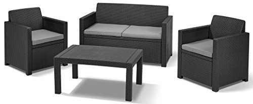 Allibert 219851 Lounge Set Merano (2 Sessel, 1 Sofa, 1 Tisch), Rattanoptik, Kunststoff, graphit