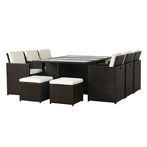 POLY RATTAN Lounge Gartenset BRAUN Sofa Garnitur Polyrattan ALU – kein Bausatz - 3