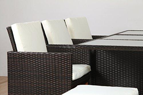 POLY RATTAN Lounge Gartenset BRAUN Sofa Garnitur Polyrattan ALU – kein Bausatz - 5