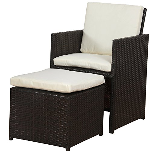 POLY RATTAN Lounge Gartenset BRAUN Sofa Garnitur Polyrattan ALU – kein Bausatz - 6