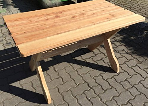 Garten Tisch 130 x 74 cm FSC Holz massiv Lärche Gartenmöbel - 3