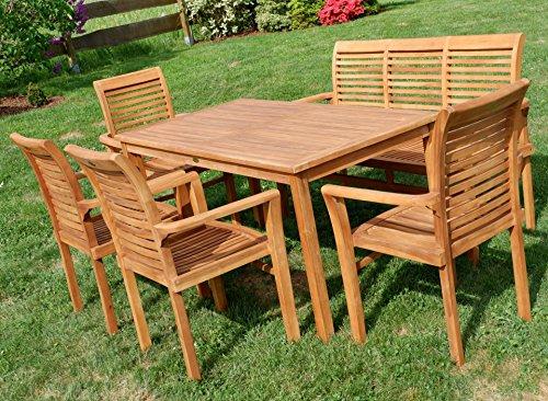 Edle TEAK XXL Gartengarnitur Gartenset Sitzgruppe Gartenmöbel TISCH + 1 Bank + 4 Sessel 'ALPEN' Holz geölt von AS-S - 2