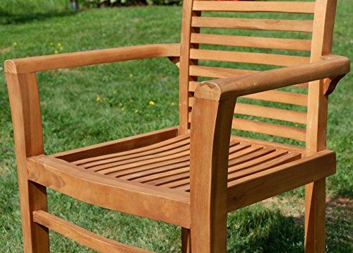 Edle TEAK XXL Gartengarnitur Gartenset Sitzgruppe Gartenmöbel TISCH + 1 Bank + 4 Sessel 'ALPEN' Holz geölt von AS-S - 8