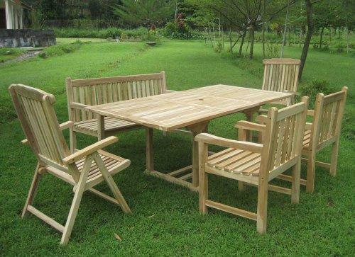 SAM® Gartengruppe Caracas, 6 teilig, Gartenmöbel aus Teak-Holz, 2 x Garten-Hochlehner Aruba, 2 x Garten-Sessel, 1 x Garten-Bank, Auszieh-Tisch, Teakholz-Möbel, Massivholz-Möbel für Garten Terrasse - 2