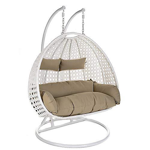 Home Deluxe Polyrattan Hängesessel Twin XXL, inkl. Sitz- und Rückenkissen (weiß)