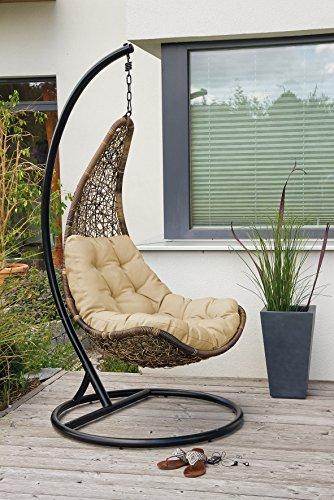 Design Rattan Hängestuhl Celano Hängesessel mit Gestell und Sitzpolster -