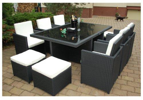 Gartenmöbel PolyRattan Essgruppe Tisch mit 6 Stühlen & 4 Hocker DEUTSCHE MARKE -- EIGNENE PRODUKTION Garten Möbel incl. Glas und Sitzkissen Ragnarök-Möbeldesign