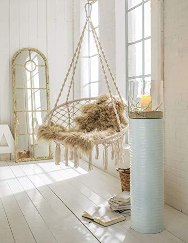 Hängesessel zum Aufhängen – mit rundem Sitzkissen – inkl. Spreizstab – Weiß Beige – Belastbarkeit max. 100 kg - 6
