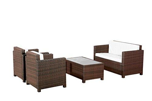 Gartenmöbel Garten Lounge Sitzgruppe Rattan Cannes brown - 7