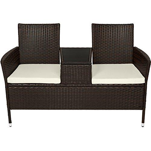 TecTake Sitzbank mit Tisch Poly Rattan Gartenbank Gartensofa inkl. Sitzkissen schwarz braun - 3