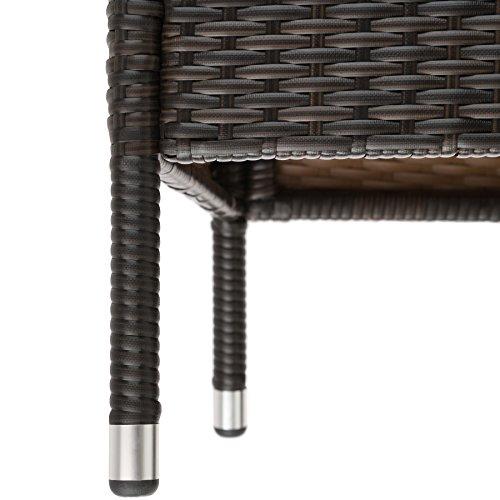 TecTake Sitzbank mit Tisch Poly Rattan Gartenbank Gartensofa inkl. Sitzkissen schwarz braun - 6
