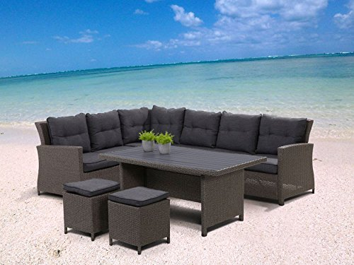 "Hohe Dining Poly Rattan Lounge ""Havanna"" inkl. Kissen"