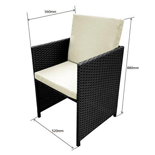 POLY RATTAN Essgruppe Rattan Set mit Glastisch Garnitur Gartenmöbel Sitzgruppe Lounge (4 Stühle, Schwarz) - 3