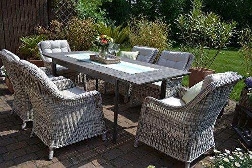 Rattan gartenmöbel günstig  ᐅᐅ】Gartenmöbel Set Como-6 Tisch ausziehbar Holzdekor mit 6 Sessel ...