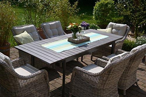 Gartenmöbel Set Como 6 Tisch Ausziehbar Holzdekor Mit 6 Sessel Rattan  Polyrattan Geflecht   4