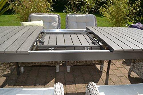 Gartenmöbel Set Como 6 Tisch Ausziehbar Holzdekor Mit 6 Sessel Rattan  Polyrattan Geflecht   9