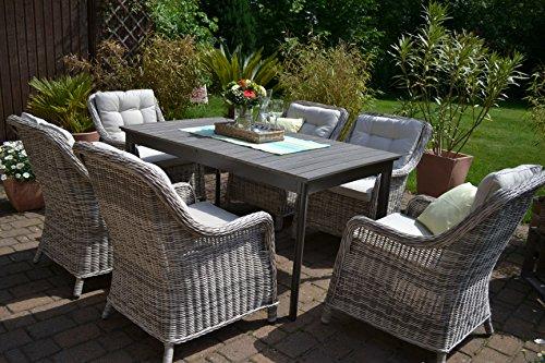 ᐅᐅgartenmöbel Set Como 6 Tisch Ausziehbar Holzdekor Mit 6 Sessel