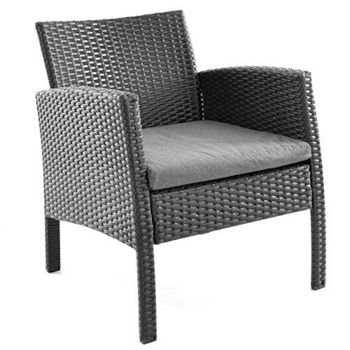 Rattanset 4tlg Sitzecke mit Tisch mit 2 Sessel und 1 Sofa Garnitur Sitzgruppe Polster grau Terrasse Gartenmöbel Poly Rattan Sicherheitsglas Lounge In/Outdoor 4-Sitzer 4-teilig - 2