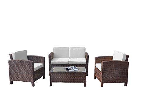13tlg. Deluxe Lounge Set Gruppe Garnitur Gartenmöbel Loungemöbel Polyrattan Sitzgruppe – handgeflochten – braun-mix von XINRO® - 4