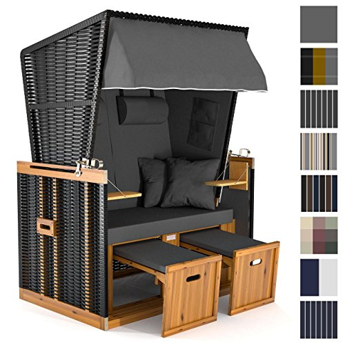 Strandkorb Deluxe Polyrattan Sylt Ostsee Volllieger inkl. 4x Kissen XL120cm Grau Unifarben