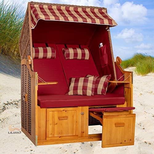 Strandkorb Ostsee bordeaux, Geflecht natur, Variante A, inkl. Haube, LILIMO ® - 3