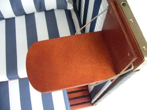XINRO® – XY-01 – Garten Strandkorb inkl. Luxus Strandkorb Schutzhülle u. 4x Kissen, Blau-gestreifter Stoff – braunes Holz, Nordsee Strandkorb Form - 3