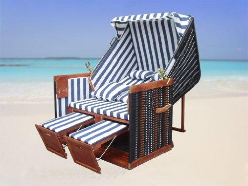 XINRO® – XY-01 – Garten Strandkorb inkl. Luxus Strandkorb Schutzhülle u. 4x Kissen, Blau-gestreifter Stoff – braunes Holz, Nordsee Strandkorb Form - 5