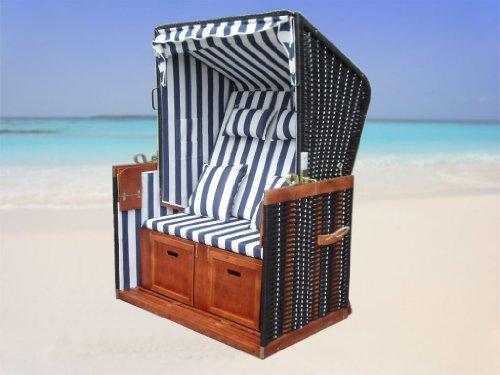 XINRO® – XY-01 – Garten Strandkorb inkl. Luxus Strandkorb Schutzhülle u. 4x Kissen, Blau-gestreifter Stoff – braunes Holz, Nordsee Strandkorb Form - 7