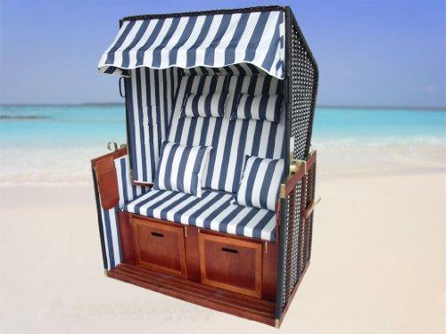 XINRO® – XY-01 – Garten Strandkorb inkl. Luxus Strandkorb Schutzhülle u. 4x Kissen, Blau-gestreifter Stoff – braunes Holz, Nordsee Strandkorb Form - 8