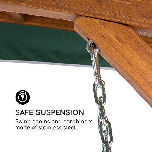 Blumfeldt Tahiti Hollywoodschaukel Gartenschaukel (110 cm breite Sitzfläche, Sonnendach, Lärchen-Holz, Edelstahl-Ketten, bis max. 250 kg, inkl. Polyester Sitz-Kissen) grün - 5