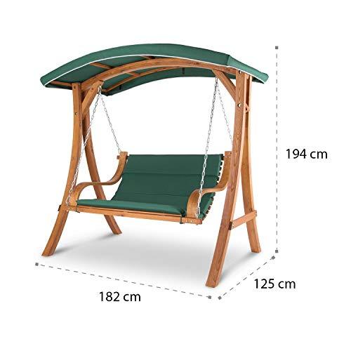 Blumfeldt Tahiti Hollywoodschaukel Gartenschaukel (110 cm breite Sitzfläche, Sonnendach, Lärchen-Holz, Edelstahl-Ketten, bis max. 250 kg, inkl. Polyester Sitz-Kissen) grün - 8