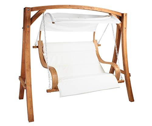 Hollywoodschaukel ALBARELLA Gartenschaukel aus Lärche Holzfarbe TEAK / Stoff Weiss Holzschaukel Lärchenholz