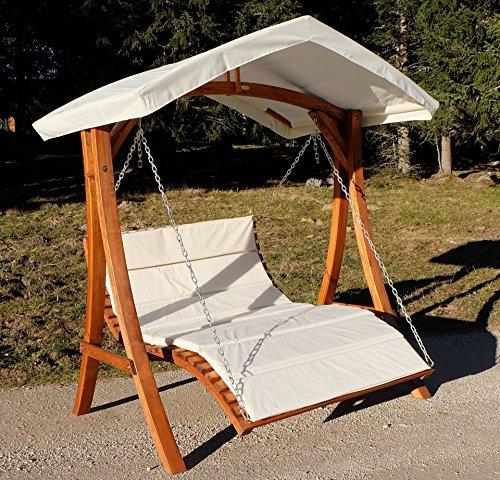 Design Hollywoodschaukel Gartenschaukel Hollywoodliege Doppelliege aus Holz Lärche mit Dach Modell: 'ARUBA' von AS-S - 2