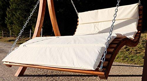 Design Hollywoodschaukel Gartenschaukel Hollywoodliege Doppelliege aus Holz Lärche mit Dach Modell: 'ARUBA' von AS-S - 5
