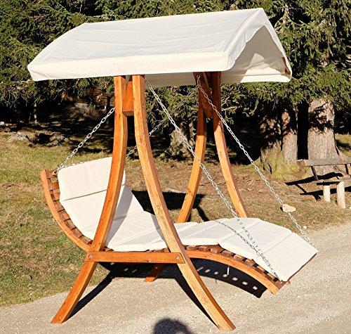 Design Hollywoodschaukel Gartenschaukel Hollywoodliege Doppelliege aus Holz Lärche mit Dach Modell: 'ARUBA' von AS-S - 7