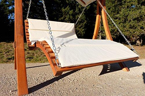 Design Hollywoodschaukel Gartenschaukel Hollywoodliege Doppelliege aus Holz Lärche mit Dach Modell: 'ARUBA' von AS-S - 8