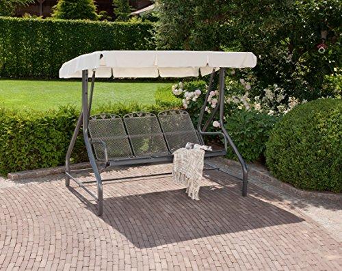 greemotion Hollywoodschaukel 3-Sitzer Toulouse – Gartenschaukel Metall in Grau-Anthrazit mit Dach in Creme – Outdoor Schwebebank für Garten, Balkon & Terrasse, wetterfest – bis ca. 300 kg - 2
