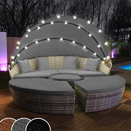 Polyrattan Sonneninsel mit LED Beleuchtung + Solarmodul inklusive Abdeckcover Rattan Lounge Sunbed Liege Insel mit Regencover Sonnenliege Gartenliege (180cm, Grau)
